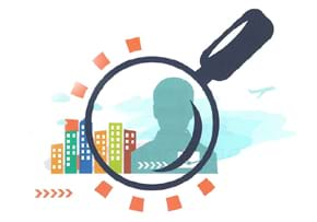 MGI World MGI Worldwide Latin America Area news item, figure and buildings seen through magnifying glass illustration