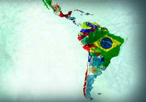 MGI World MGI Worldwide Latin America Area news item, Latin America map made up of country flags illustration