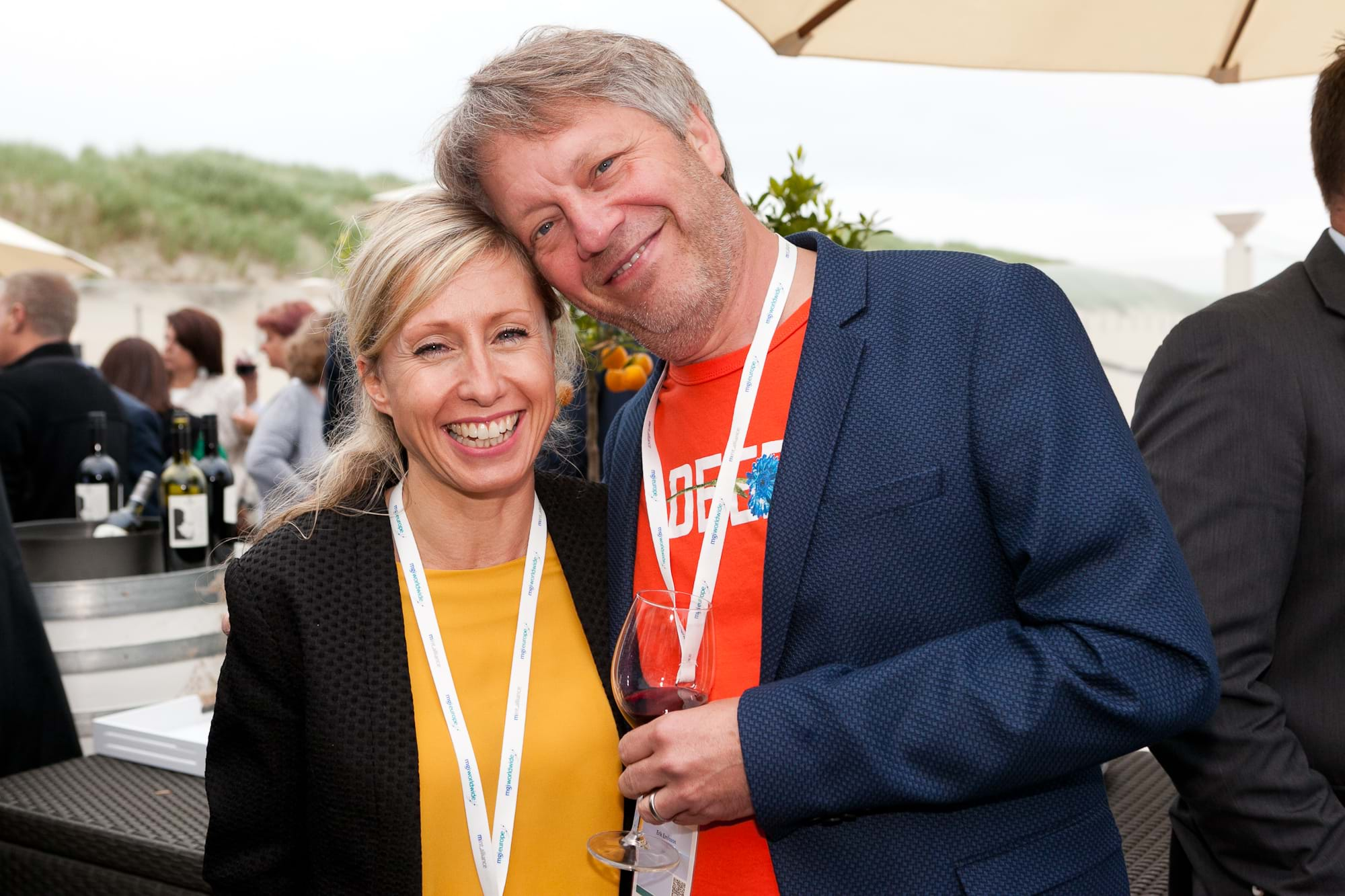 MGI World Delegates at beachside welcome drinks 4 MGI European Area Meeting, the Netherlands 2016