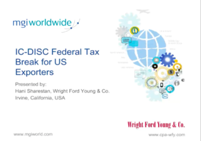 MGI World MGI Worldwide accounting network webinar on IC-DISC Federal Tax breaks for US exporters, webinar screen shot image