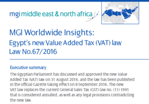 MGI World Dr Ashraf Hanna accounting and auditing produce [paper on Egypt's new Value Added Tax (VAT) law screen shot