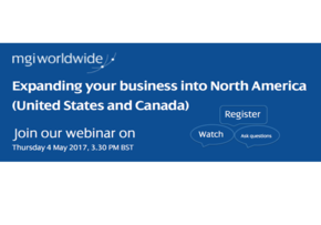 MGI World MGI Worldwide's May's webinar on Expanding your business to North America screen shot