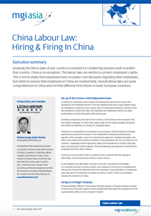 MGI member firm LehmanBrown produce paper on China Labour Law: Hiring & Firing in China front page