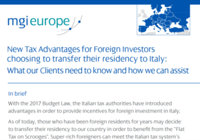 MGI World Cover image Three MGI-Italian firms collaborate on a flyer to promote tax advantages for foreign investors