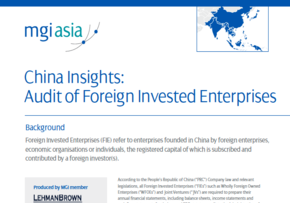 MGI World MGI worldwide network member Lehman Brown paper China Insights: Audit of Foreign Invested Enterprises 290x203