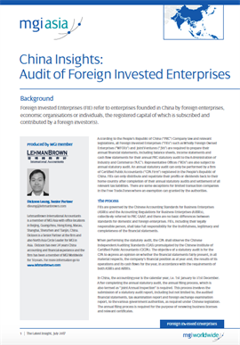 China Insights: Audit of Foreign Invested Enterprises cover image