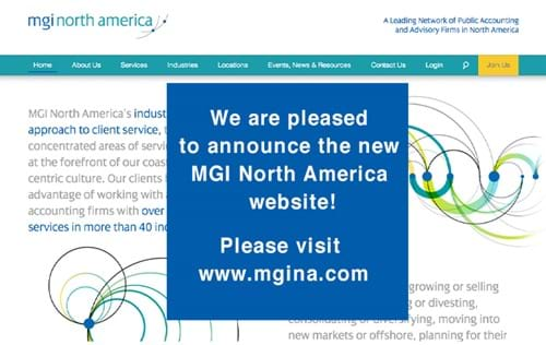 MGINA Website announcement