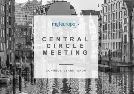 MGI World Black and white image of Hamburg canal with meeting dates written over