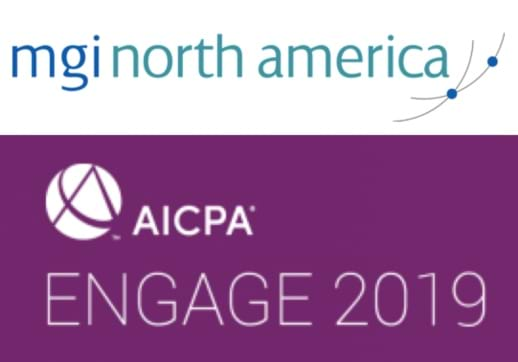 MGI World MGI North America logo with AIPCA Engage 2019 purple logo