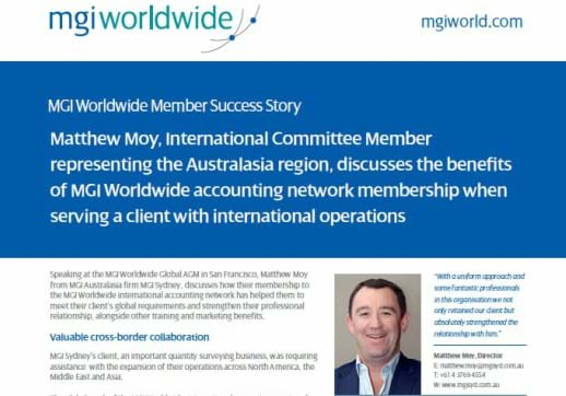 MGI World Cropped screenshot of Matt Moy Success Story