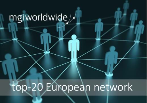 "MGI World Illustration of people network connection with MGI Worldwide logo and ""top-20 european network"" overlaid"