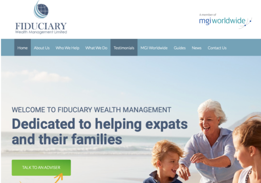 MGI World Screen shot of Fiduciary website homepage