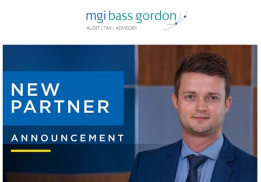 "MGI World Profile picture of Johann Diener with MGI Bass Gordon and ""new partner announcement"" overlaid"