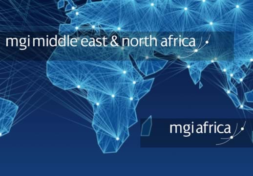 MGI World Africa map picture with MGI MENA and MGI Africa logos overlaid