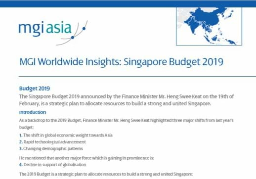 MGI World Screenshot of paper published by MGI N. Rajan Associates on Singapore Budget 2019