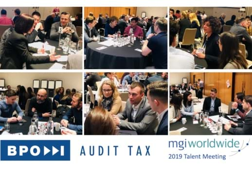 MGI World montage of six pictures showing MGI 2019 Talent Meeting + BPO Audit Tax logo