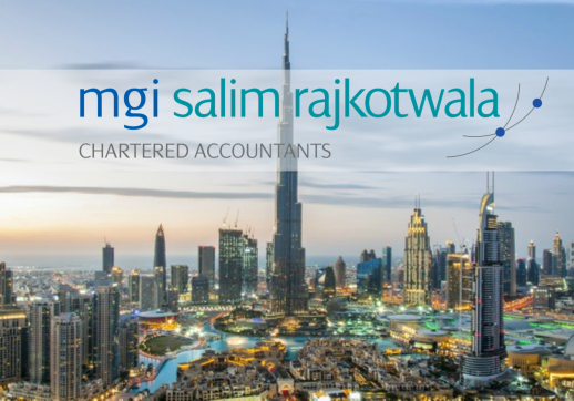 MGI World Dubai cityscape with MGI Salim Rajkotwala and Associates logo_518x362