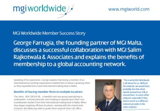 MGI World Cropped screenshot of George Farrugia's success story