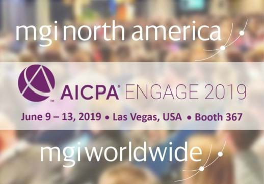 MGI World Audience image with AICPA Engage 2019 info overlay and MGI NA and MGI Worldwide logos