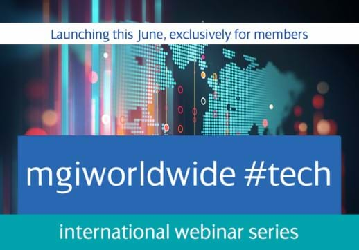 MGI World Montage of background image and teaser information about MGI international webinar series
