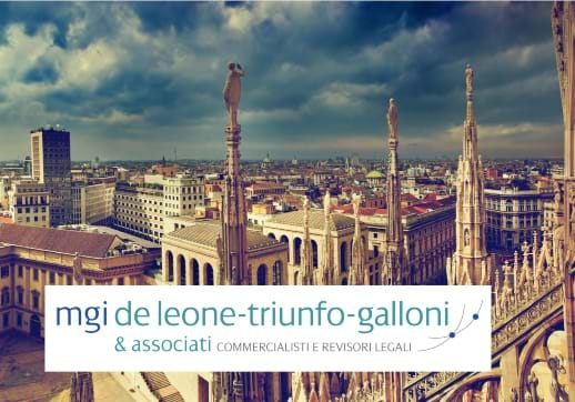 MGI World Milan cityscape with MGI De Leone-Triunfo-Galloni logo and Studio Trovato logo over laid