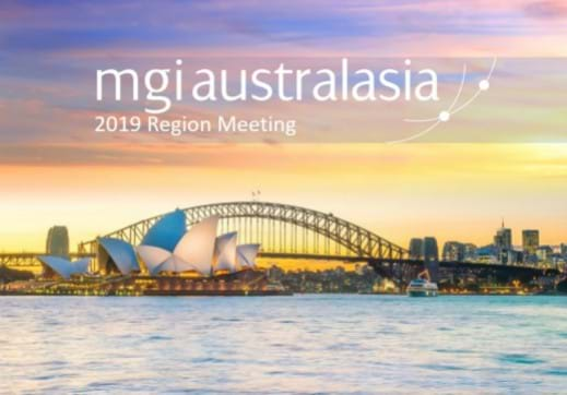 MGI World Sydney city scape with MGI Australasia overlaid and annual conference title