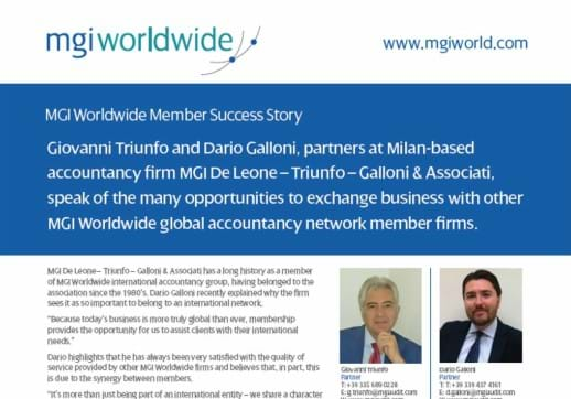 MGI World Partial screenshot of De Leone-Triunfo-Galloni Success Story_518x362