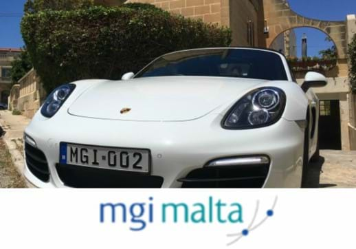 MGI World Picture of George Farrugia's Porsche with MGI Malta logo overlaid