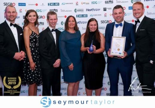 MGI World Group picture of MGI member firm Seymour Taylor winning Employer of the Year award