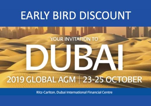 MGI World Image of Dubai dunes with early bird and AGM messaging in blue banners