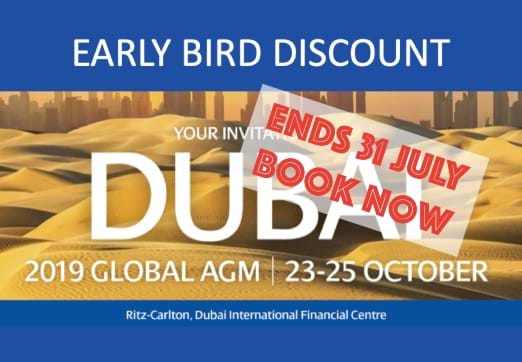 MGI World MGI Worldwide AGM Early bird ends soon desert scene with messaging overlay