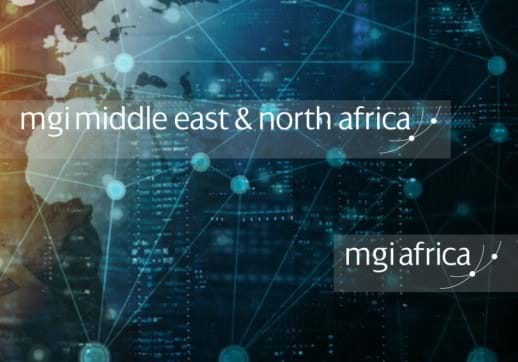 MGI World African continent picture with MGI MENA and MGI Africa logos overlaid