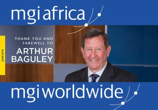 MGI World Arthur Baguley profile picture with MGI Africa logo and farewell caption overlaid