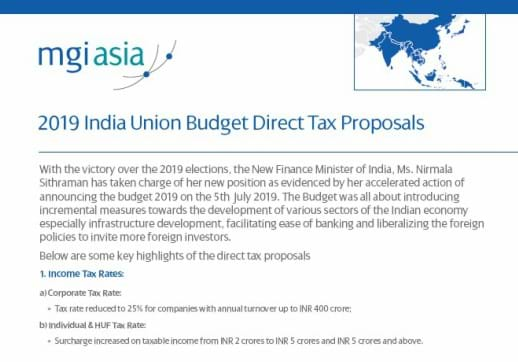 MGI World 518x362 screenshot of Kamdar Desai & Patel's white paper on 2019 India Budget