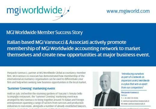 MGI World Lead image for MGI Vannucci Associati Business Event Success Story