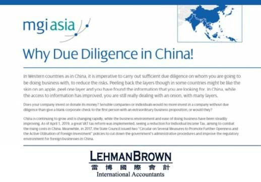 MGI World Print screen of LehmanBrown's paper Why Due Diligence in China
