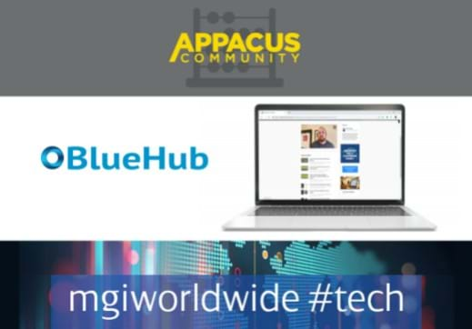 MGI World Appacus learning portal image with BlueHub and MGI #techwebinar logos overlaid