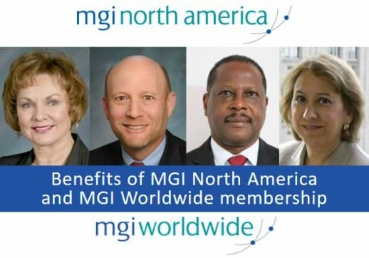 MGI World Montage of 4 profile pictures of Sharon Gregor, Stuart Jaffe, Gabriel Zephir and Vanessa Sola with MGI logos