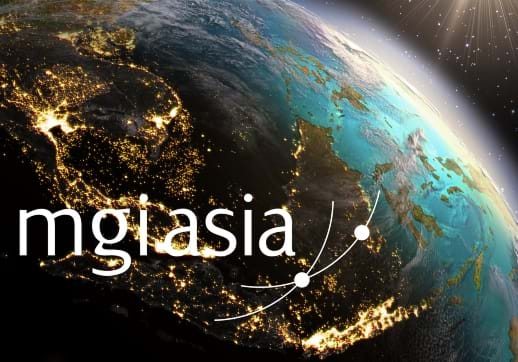 MGI World Asia map with MGI Asia logo