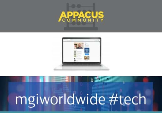 MGI World Appacus logo with MGI Worldwide #tech banner