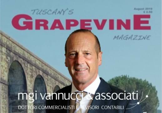 MGI World August edition of Grapevine magazine with Pierpaolo Vannucci profile picture and firm logo overlaid