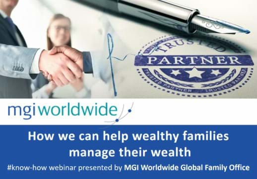 MGI World MGI Worldwide Global Family Office Experts microsite image with MGI logo and webinar title banner overlaid