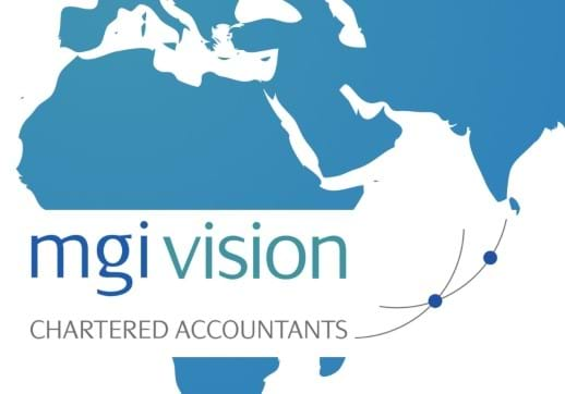 MGI World MGI Vision middle east blue graphic map and logo