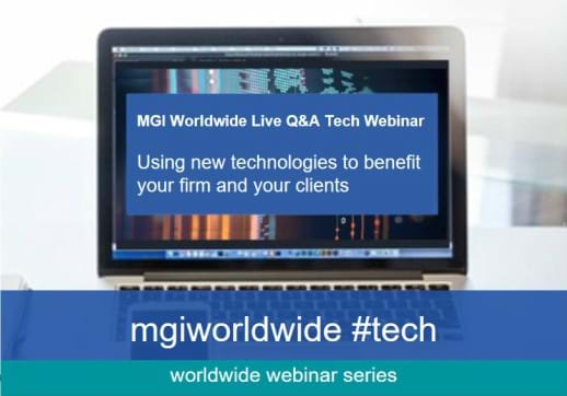 MGI World Image of laptop screen showing #tech Q&A webinar promotion