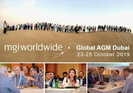MGI World Montage of 4 pictures of people attending 2019 AGM in Dubai