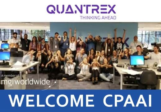 MGI World Print screen of Quantrex video frame welcoming CPAAI