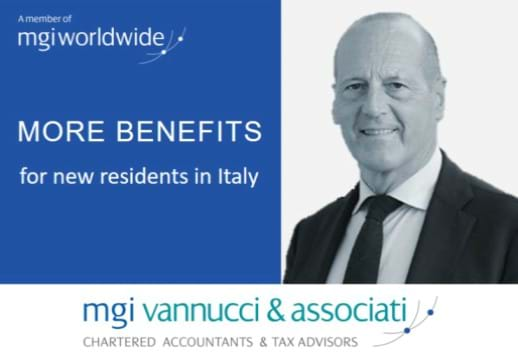 "MGI World Profile picture of Pierpaolo Vannucci + article title ""Benefits for new residents in Italy"""