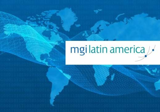 MGI World Latin America map with MGI Latin America logo overlaid
