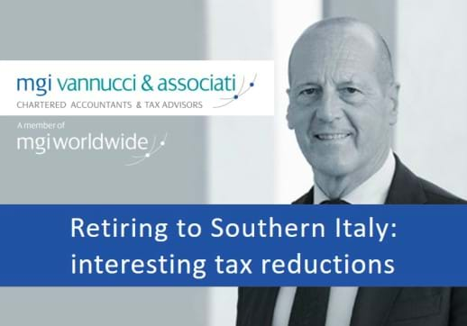 "MGI World Profile picture of Pierpaolo Vannucci with MGI Vannucci logo and ""Retiring to Southern Italy: interesting tax reductions"" overlaid"