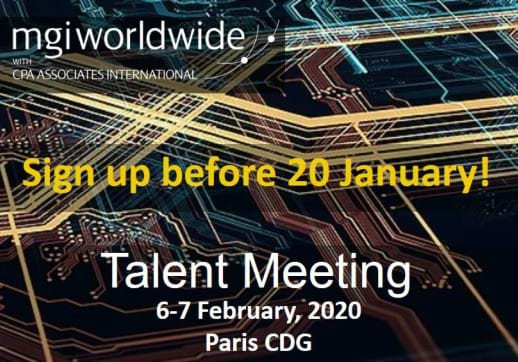 MGI World Cyber background with Talent Meeting 2020 date and location overlaid
